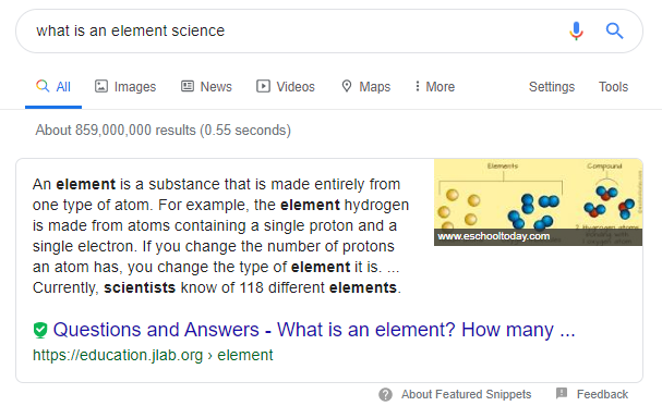 example of google's featured snippet